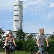 Guided bike tour with sightseeing passing by Turning Torso