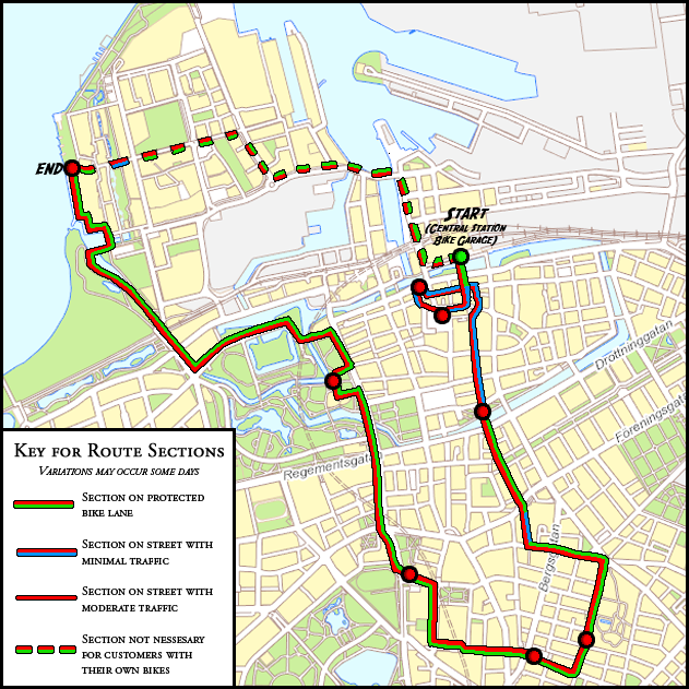 Map over the City Tour route